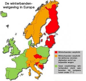 Winterbanden wetgeving in Europa